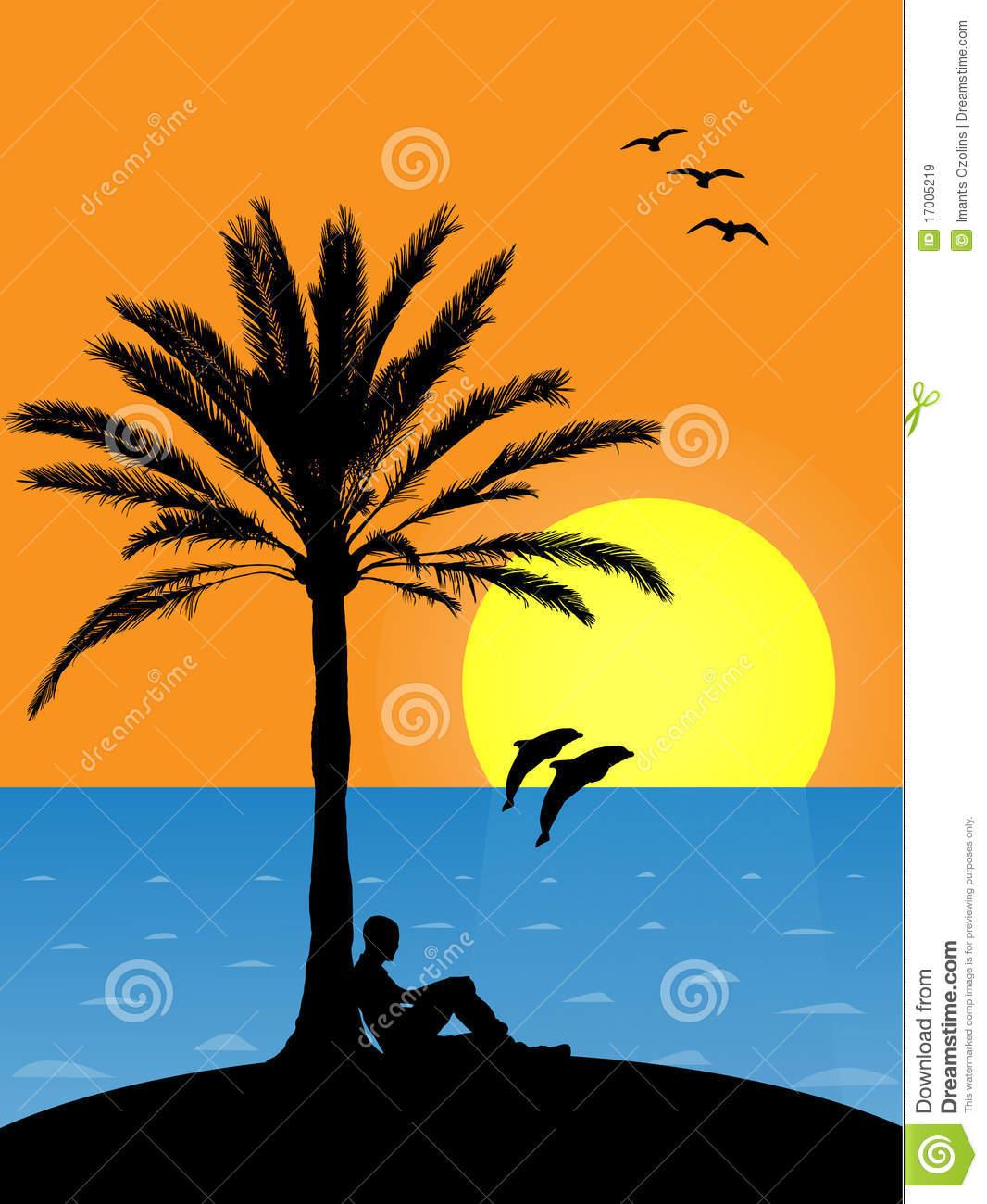 Beach sunset clipart hd.