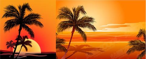 Sunset Beach Clip Art.