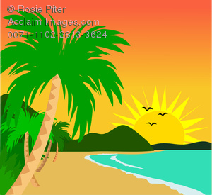 Clipart Illustration of Tropical Sunset on the Beach With Palm.