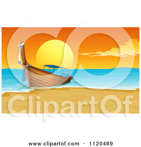 Clipart Of A Wooden Boat At A Thailand Beach At Sunset.