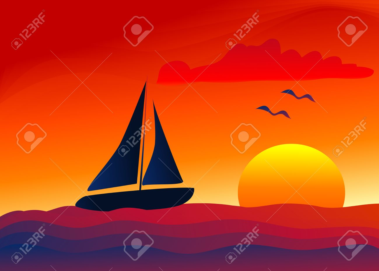 Sunset Sailing Boat Clip Art.