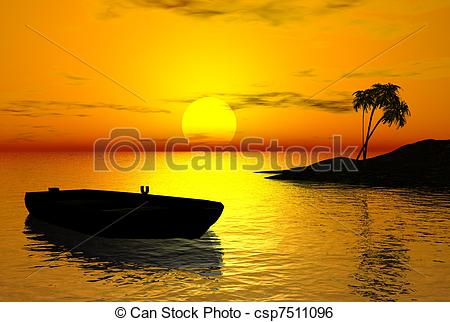Stock Illustration of Tropical Sunset.