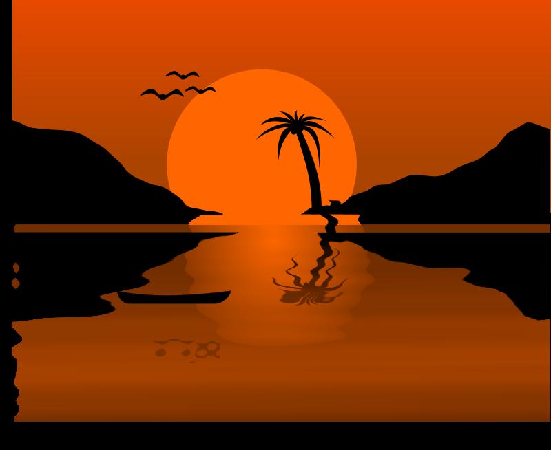 Free Clipart: Sunset Waterscene.