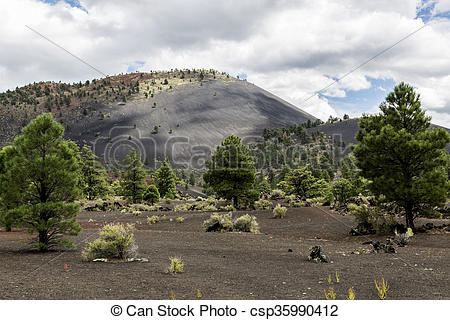Stock Photography of Sunset Crater Volcano Cinder Cone.
