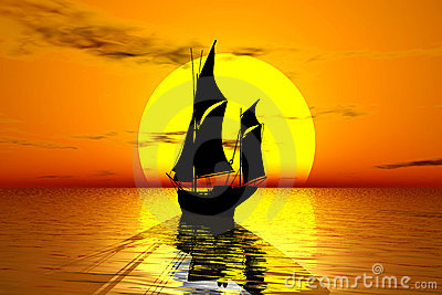 Sailing Vessel And Sunset Vertical Royalty Free Stock Photography.