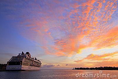 Sunrise On A Cruise Ship Royalty Free Stock Photo.