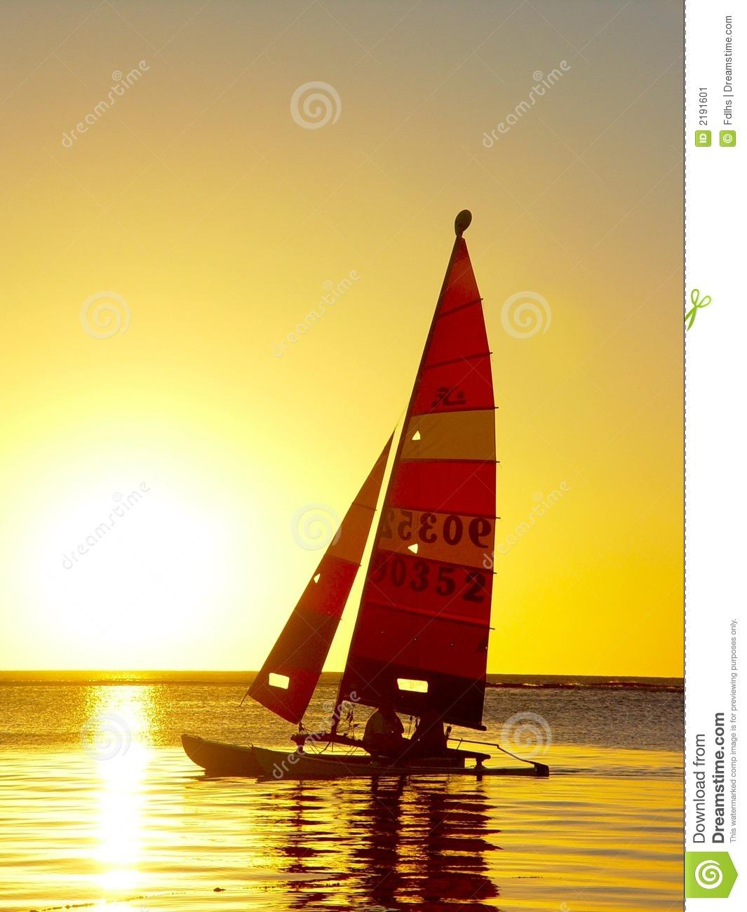 Sailing Ship, Sunset Stock Image.