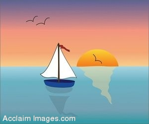 Clip Art of a Sailboat on the Ocean at Sunset.