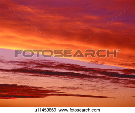 Stock Photograph of red, sunset, clouds, skies, sunset clouds.