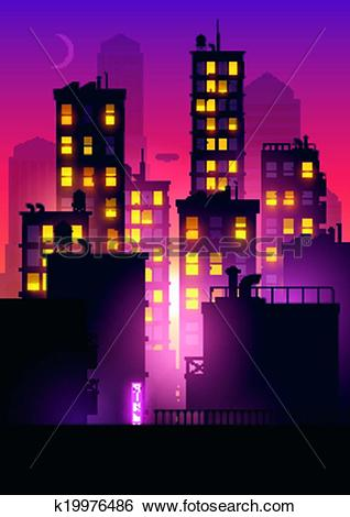 Clip Art of Sunset Glow Over The City k19976486.