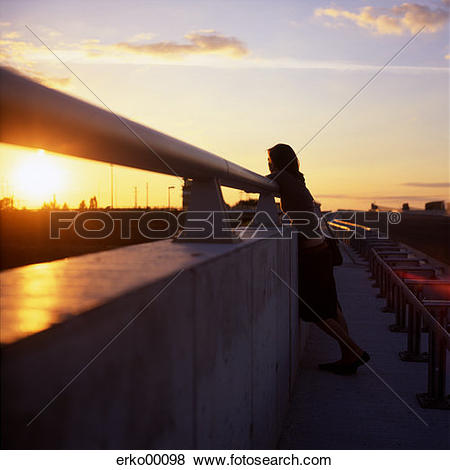 Pictures of evening, standing, full body, silhouette, vanilla sky.