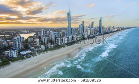Fisheye View Sunrise Over Gold Coast Stock Photo 271298447.