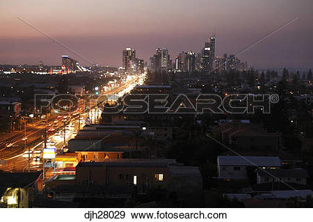Stock Photograph of Australia, Queensland, Sunset view of Gold.
