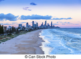 Stock Photographs of Sunset over Surfers Paradise on the Gold.