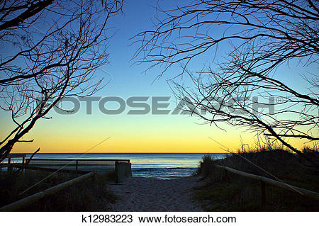 Stock Photo of Sunset at Gold Coast, Australia k12983223.