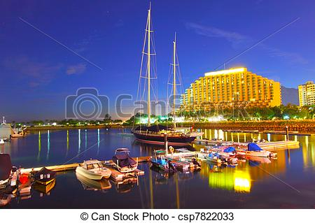 Stock Photos of Gold Coast yacht pier at sunset time.