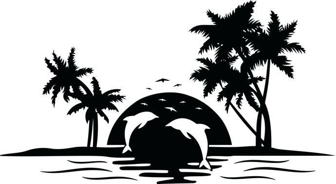 Beach Sunset Clipart Black And White.