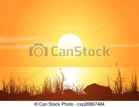 Vector of Landscape with sunset at the seashore. Grass silhouette.