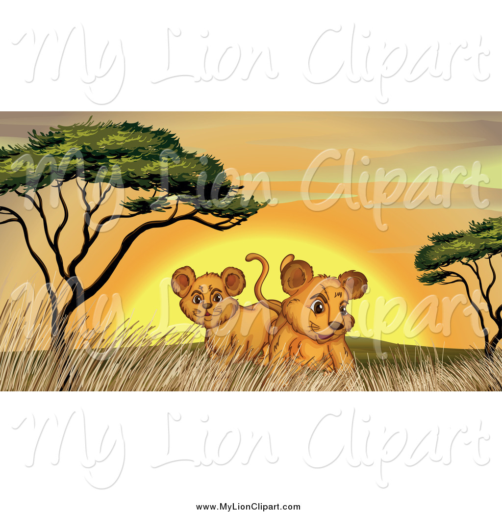 Clipart of Curious Lion Cubs with Trees and Grass at Sunset by.