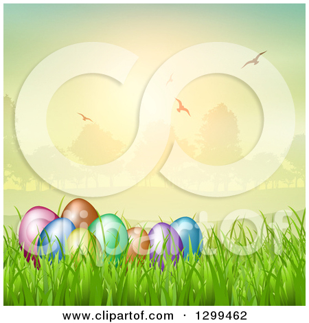 Clipart of Easter Eggs Butterflies Flowers and Grass Against a.