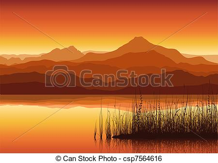 Clip Art Vector of Sunset in huge mountains near lake with grass.