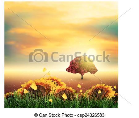 Vector of Summer, Field, Tree, Sky, Sun, Sunset, Grass, Sunflowers.