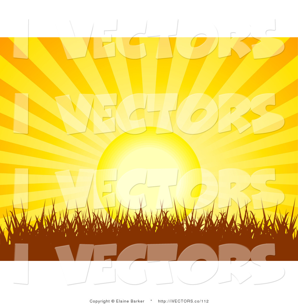 Vector Graphic of a Bright Orange and Yellow Bursting SunRise or.