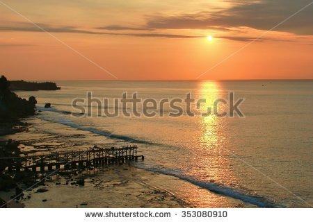 Bali Beach Jimbaran Sunset Stock Photos, Royalty.