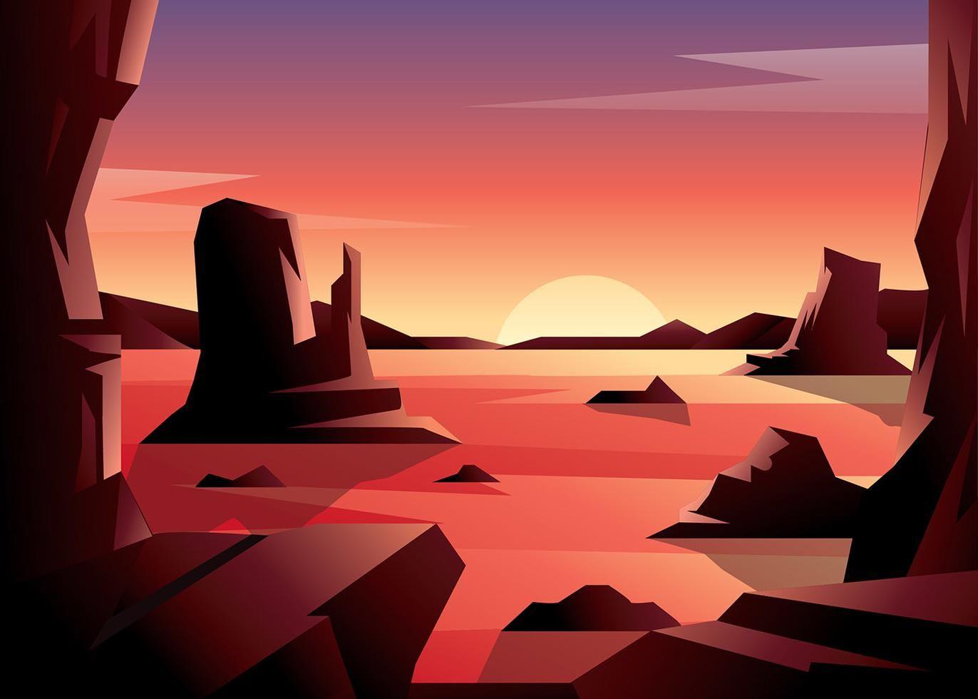 Sunset Desert Vector in 2019.