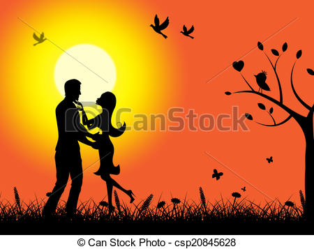 Clip Art of Summer Sunset Means Find Love And Adoration.