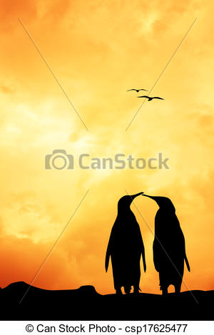 Stock Illustrations of Penuins in love at sunset.