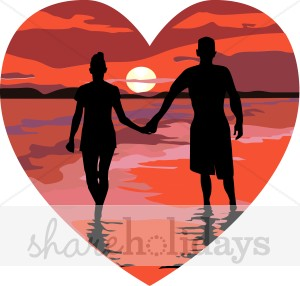 Sunset Couple Clipart.