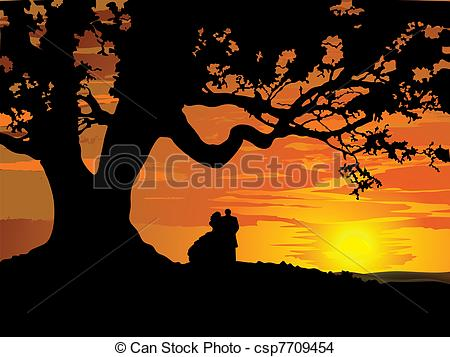 EPS Vector of Silhouette of couple in love to tre.