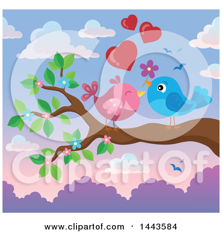 Clipart of a Pair of Valentine Love Birds on Branches, Under.