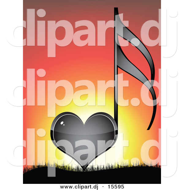 Vector Clipart of a Black Love Heart Music Note Against a Sunset.