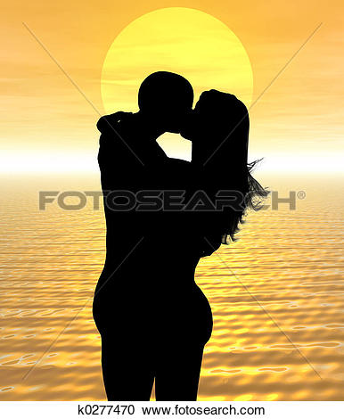 Stock Illustrations of sunset love k0277470.
