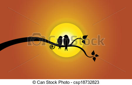 Clip Art of Happy Young love birds on tree branch during sunset.