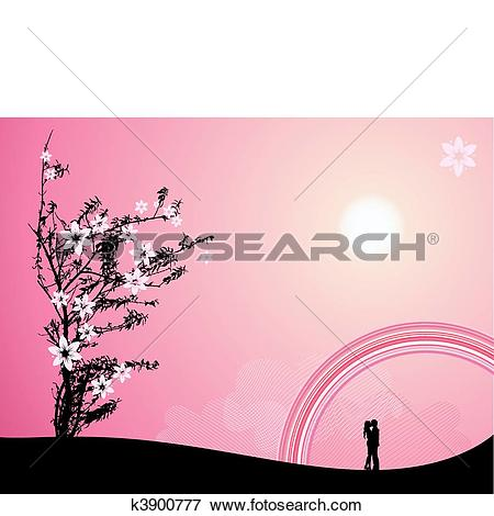 Clip Art of Pink sunset, love k3900777.