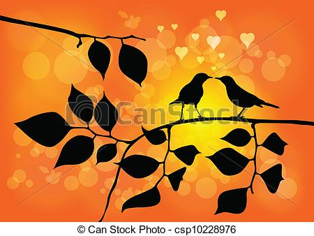 Vectors Illustration of Love Birds on a Tree with Sunset in.