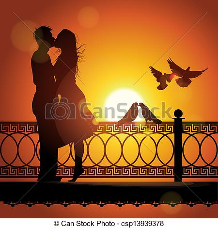 Vectors Illustration of Silhouette of couple in love kissing at.