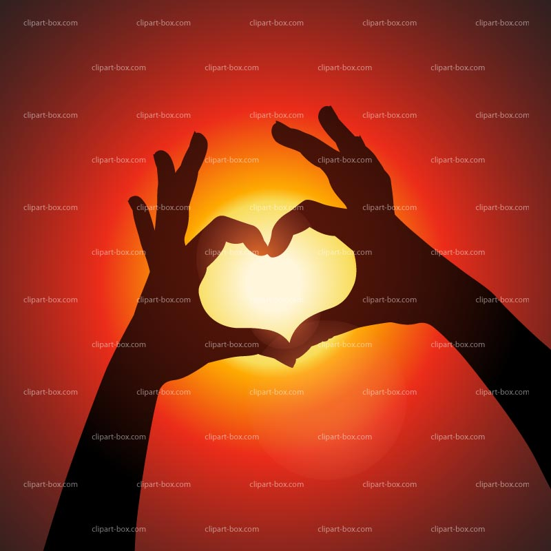 CLIPART HEART WITH HANDS AT SUNSET.