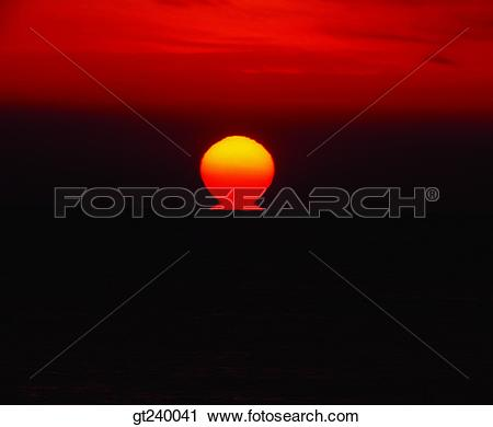 Stock Photography of exterior, outdoor, sunset, night, red sky.