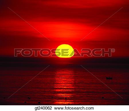 Stock Photo of exterior, outdoor, sunset, night, red sky, sunrise.