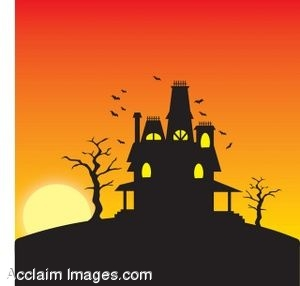 Clipart of a Haunted House At Sunset.