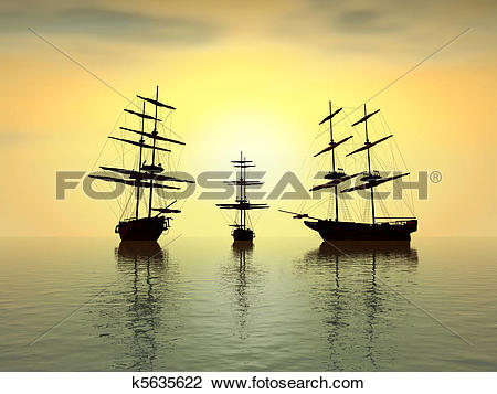 Clip Art of old ship at sunset over the ocean.