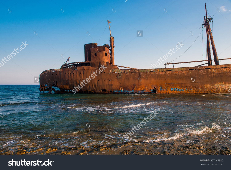 Old Ship Ancient Shipwrecks Sea Sunset Stock Photo 357445340.