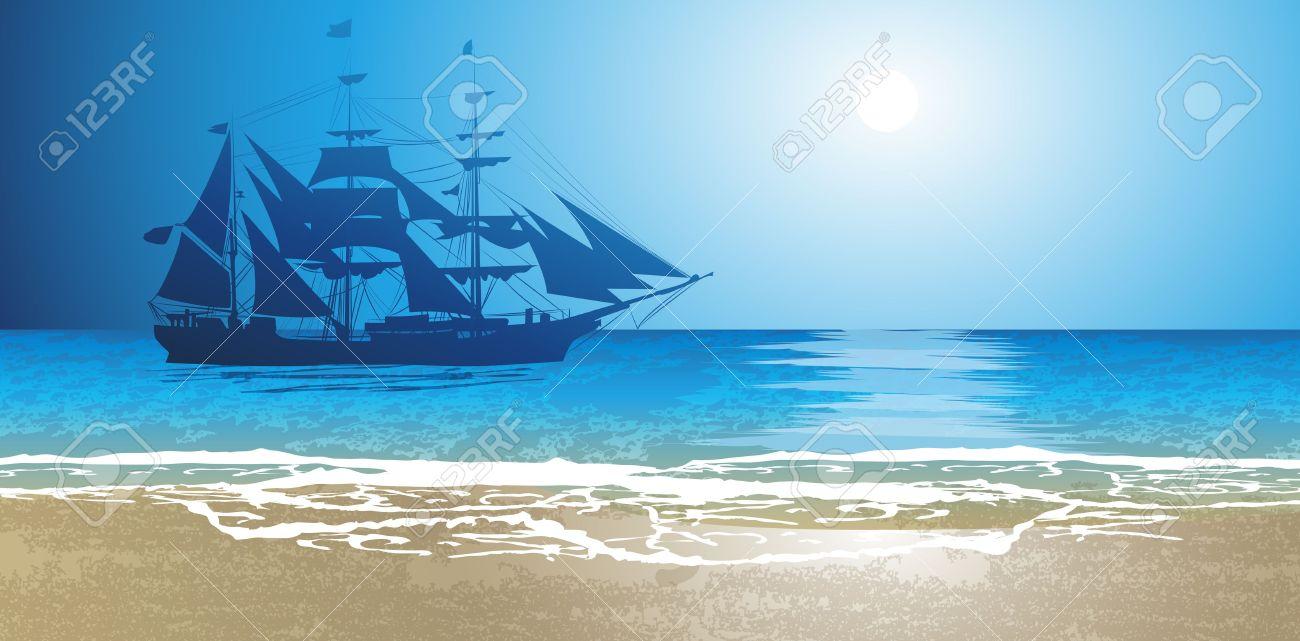 Old Ship Sailing Open Seas Royalty Free Cliparts, Vectors, And.