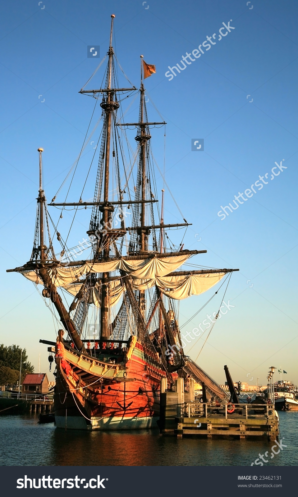 Batavia Historic Galleon From Netherlands By Sunset. Old Ship.