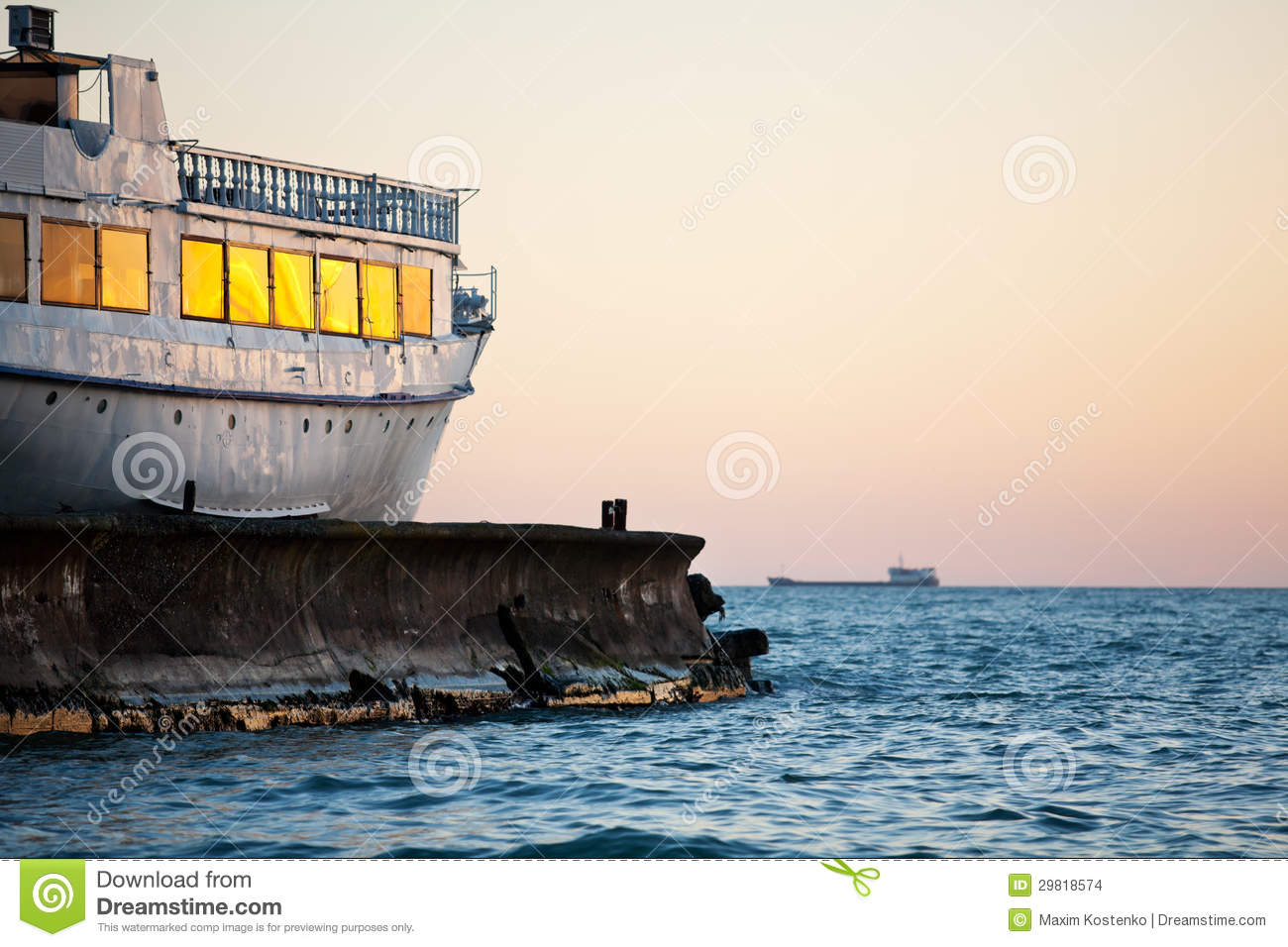 Old Ship In Sunset Stock Images.