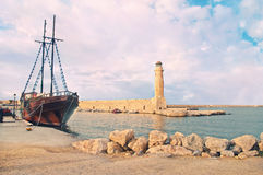 Old Ship At Sunset Stock Photo.